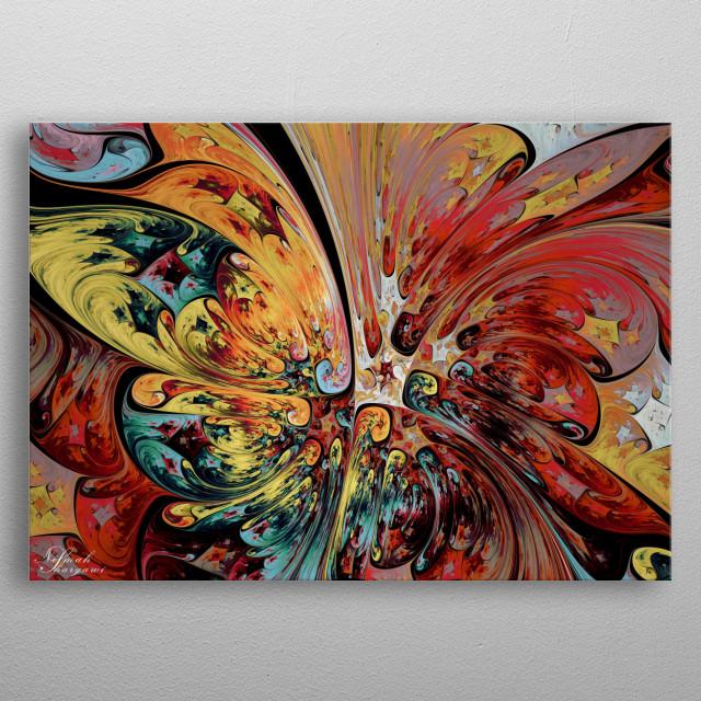Butterfly in the Flower Field  metal poster