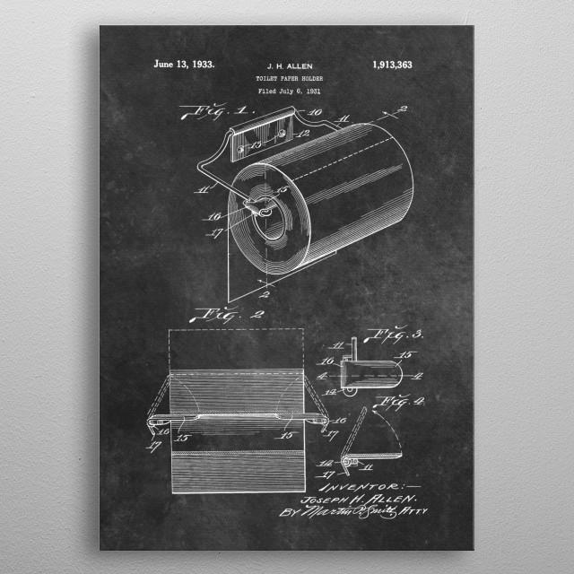 1933 Allen Toilet paper holder metal poster