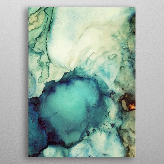 Teal Abstract metal poster