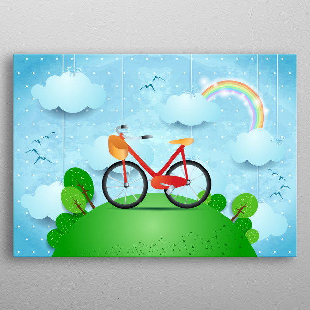 Surreal landscape with hamging clouds and bike metal poster