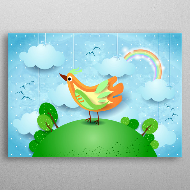 Surreal landscape with hanging clouds and bird metal poster