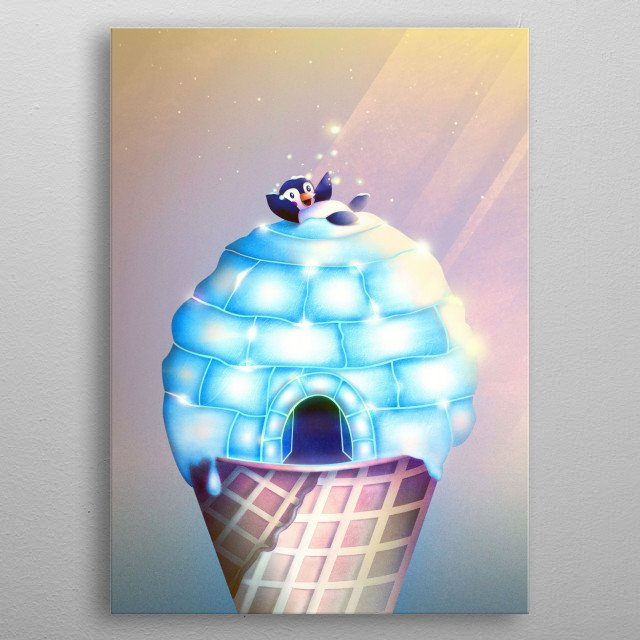 On top of this ice cream a cute little penguin is playing with the glowing snow. But wait, isn't it an igloo? A surreal piece for all who love magic, animals and pastel colours! Taste the flavour of fantasy with this beautiful digital illustration! metal poster
