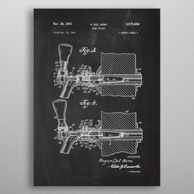 1947 Beer Faucet - Patent Drawing metal poster