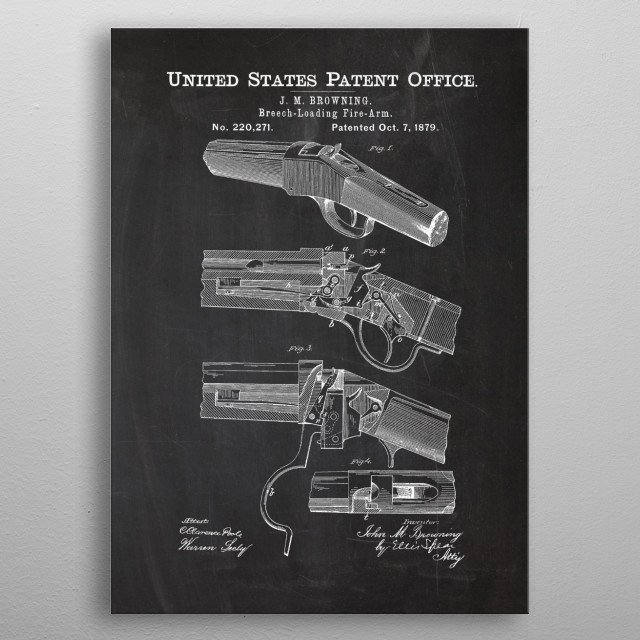 1879 Breech-Loading Fire-Arm - Patent Drawing metal poster