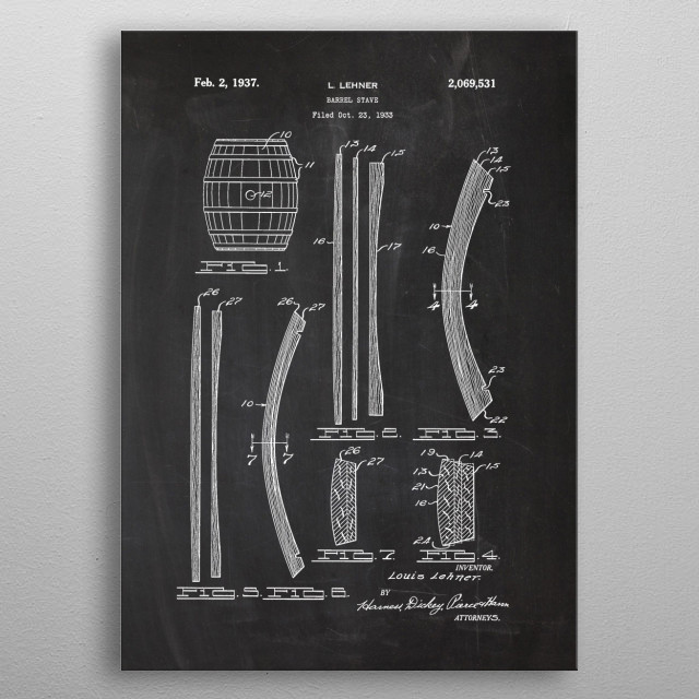 1933 Barrel Stave - Patent Drawing metal poster