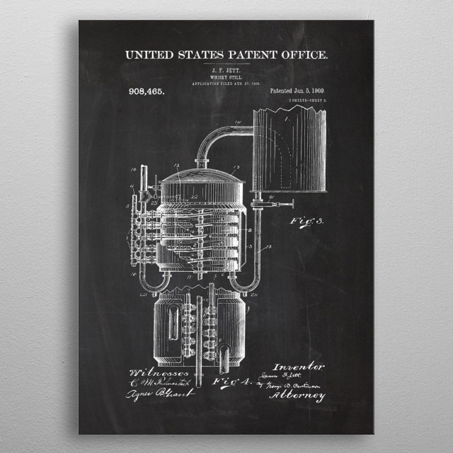 1906 Whisky Still - Patent Drawing  metal poster