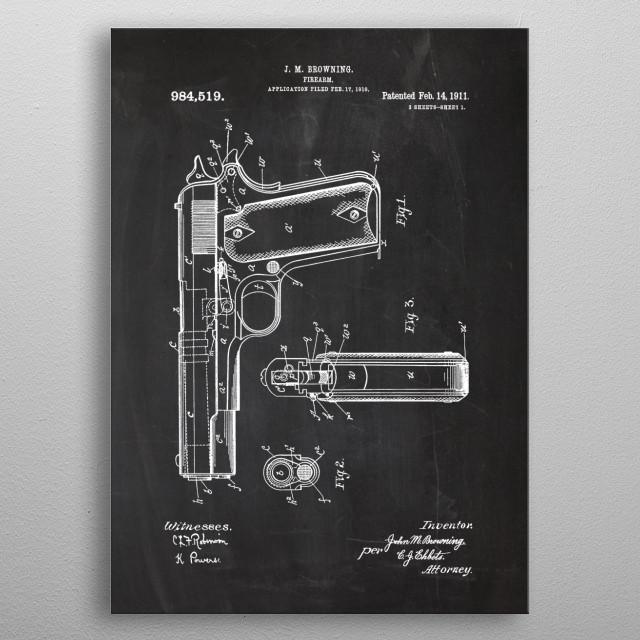 1910 Firearm - Patent Drawing metal poster