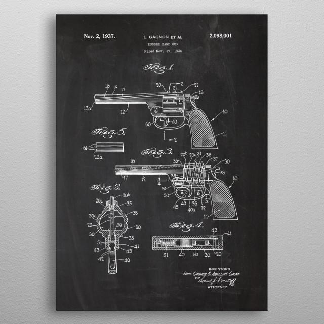 1936 Rubber Band Gun - Patent Drawing metal poster