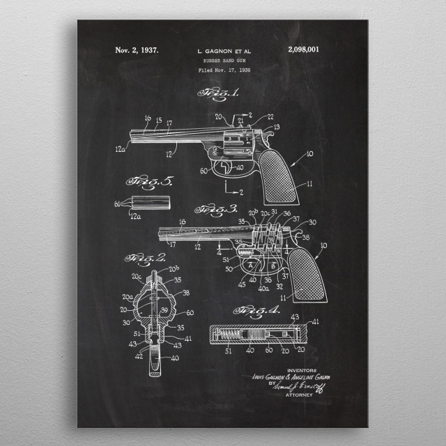 High-quality metal print from amazing Firearm Patent Drawing collection will bring unique style to your space and will show off your personality. metal poster