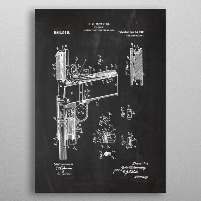 1910 Firearm - Patent Drawing metal poster