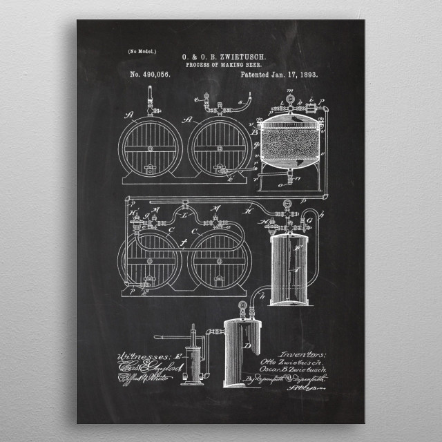 1893 Process of Making Beer - Patent Drawing metal poster