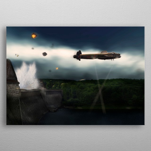 Dam Buster Lancaster A-Apple releasing its weapon  metal poster