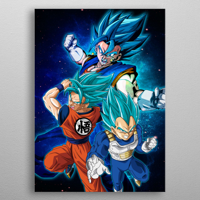 Goku and Vegeta join forces to create the best fusion ever! metal poster