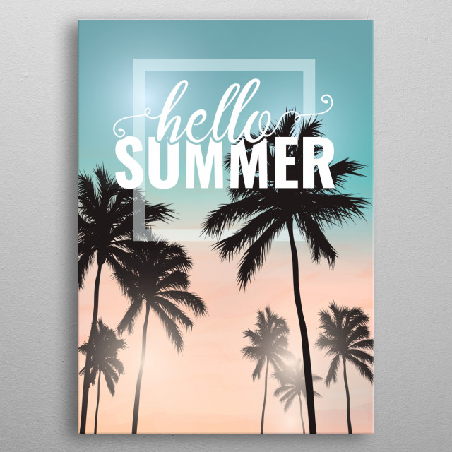 Hello Summer Palm Trees Tropical Sunset metal poster
