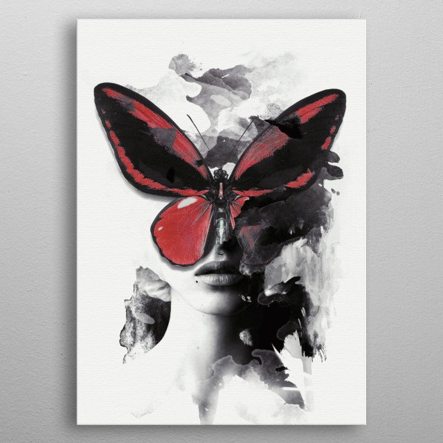 Red Butterfly metal poster