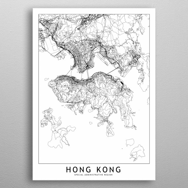 Hong Kong White Map metal poster