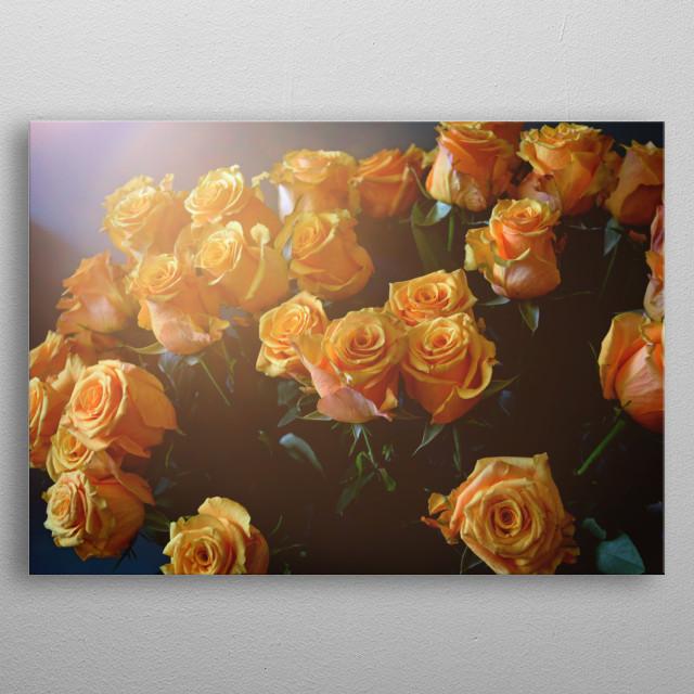 Bright Yellow Roses metal poster