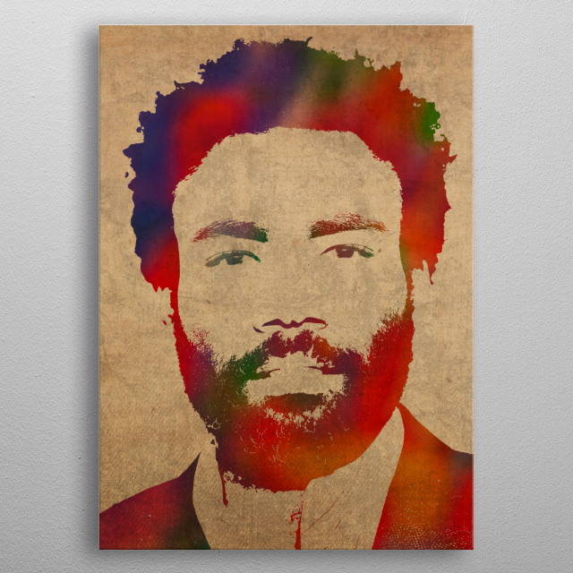 Donald Glover Watercolor Portrait metal poster