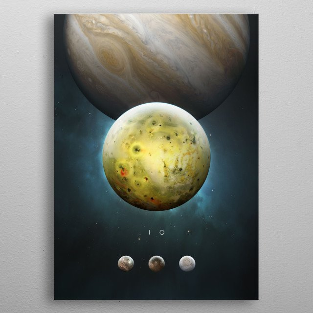 A Portrait of the Solar System: Io metal poster