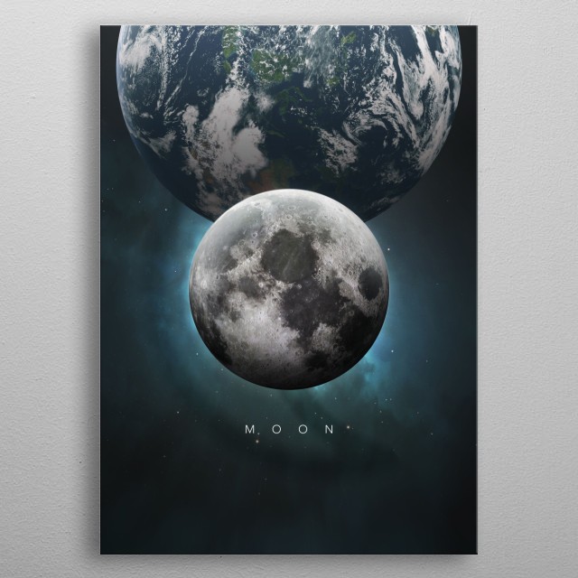 A Portrait of the Solar System: Moon metal poster