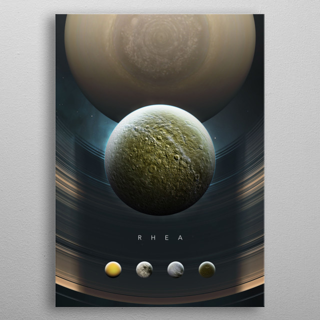 A Portrait of the Solar System: Rhea metal poster