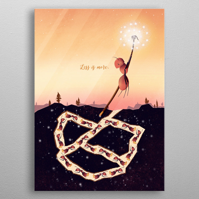 This beautiful vector illustration shows a clever ant leaving all stress and too much work behind. On a dandelion the cute animal soars past the busy anthill and enjoys the marvellous view of the golden sunset. Less is more and learn to let go.  metal poster