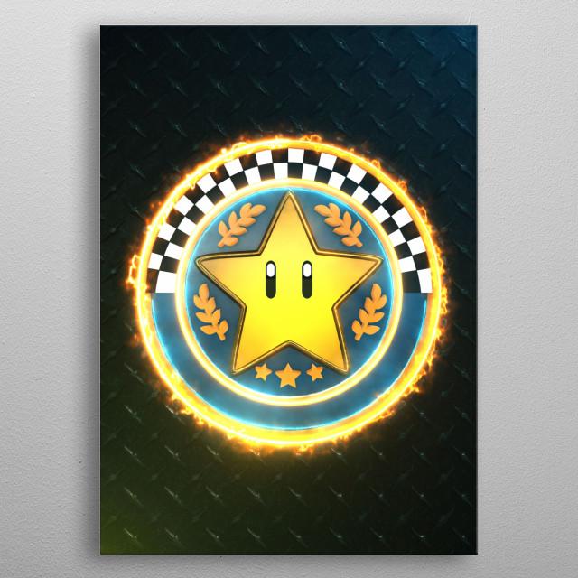 3D Star Cup emblem metal poster
