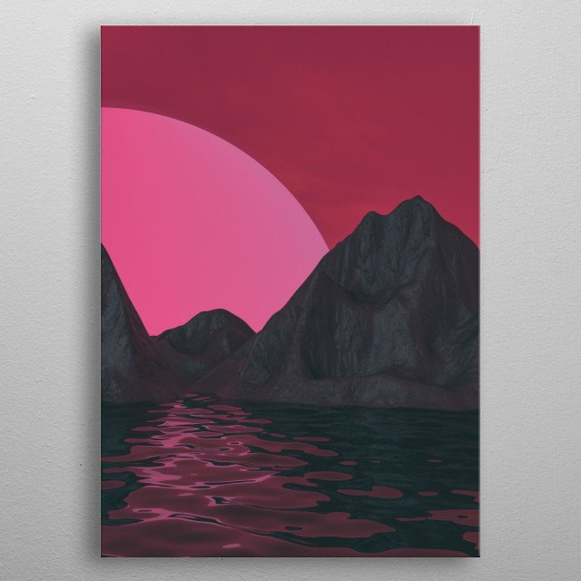 Off World Mountains  metal poster