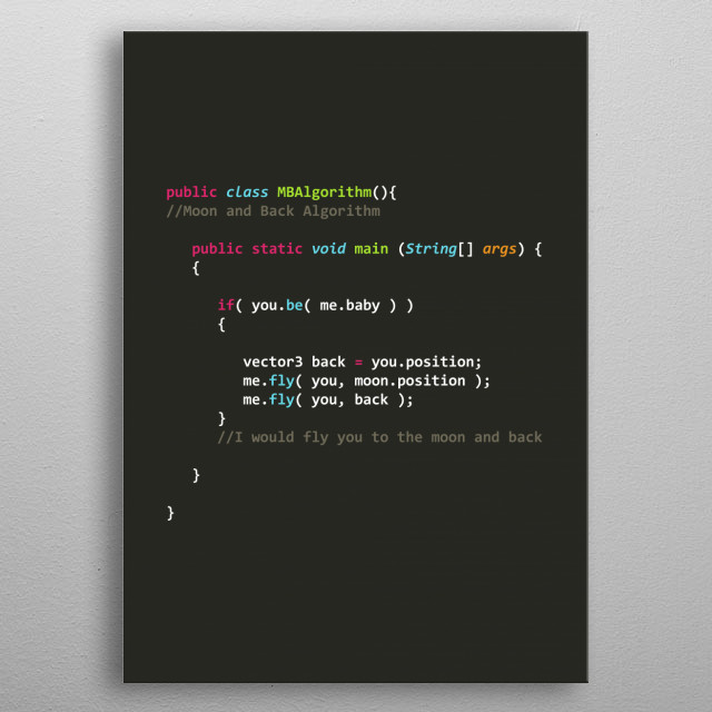 Moon and Back Algorithm in Java metal poster