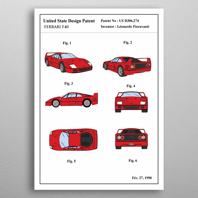 The color patent of an iconic car : ferrari F40. This limited design will look stunning on your wall, it's guaranteed to impress all your guests. metal poster