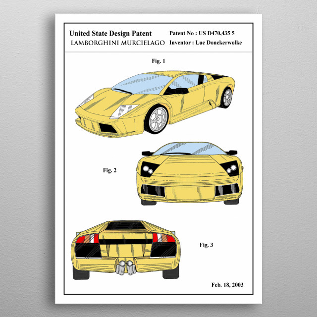 the color patent of an iconic car : Lamborghini Murcielago . This limited design will look stunning on your wall, it's guaranteed to impress all your guests. metal poster