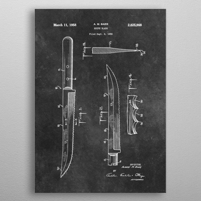 1956 patent art Baer Knife Blade  metal poster