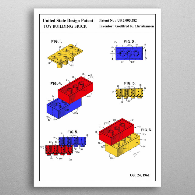 the color patent of an iconic toy: Lego Brick. This limited design will look stunning on your wall, it's guaranteed to impress all your guests.   metal poster
