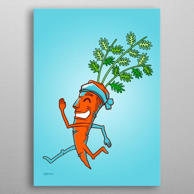 Running Carrot metal poster