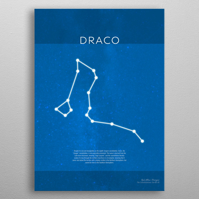 Draco The Constellations Series 05 Minimalist metal poster