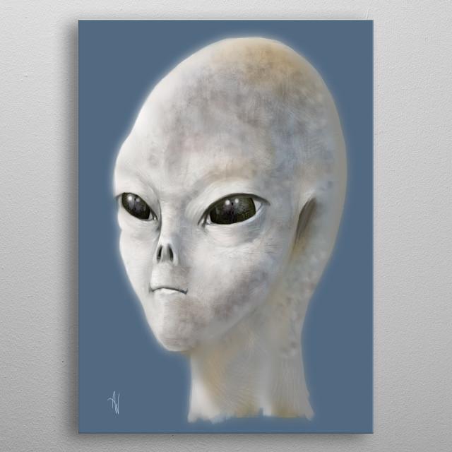 Gray Alien metal poster