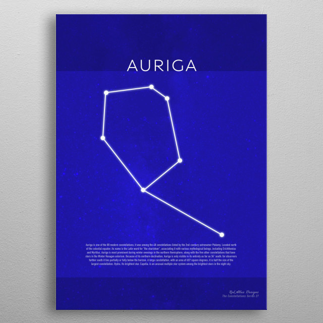 Auriga The Constellations Minimalist Series 27 metal poster
