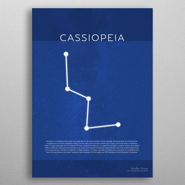 Cassiopeia The Constellations Minimalist Series 28 metal poster