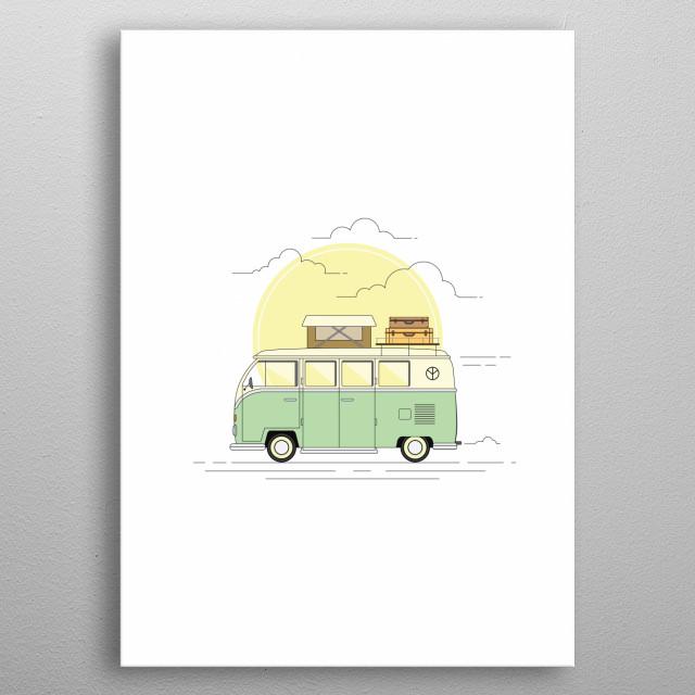 Travelling minivan metal poster