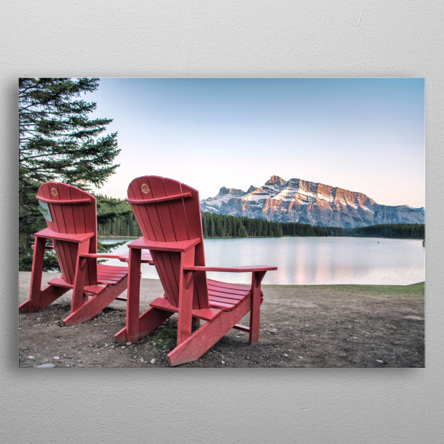 A Golden Hour Sunset at The Red Chairs metal poster
