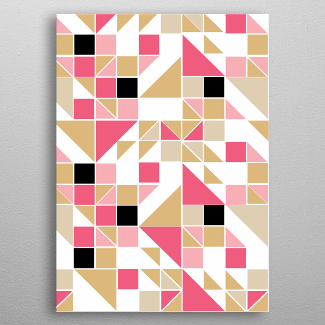 abstract square pattern metal poster