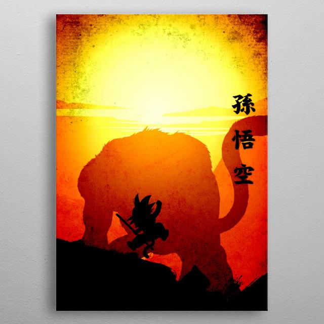 Orange Son Goku with kanji Son Goku metal poster