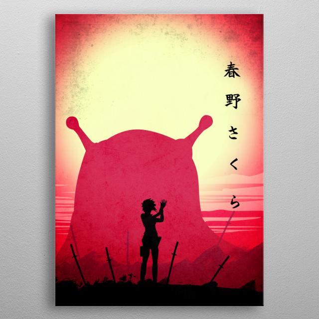 Pink Sakura Haruno with kanji Sakura Haruno metal poster