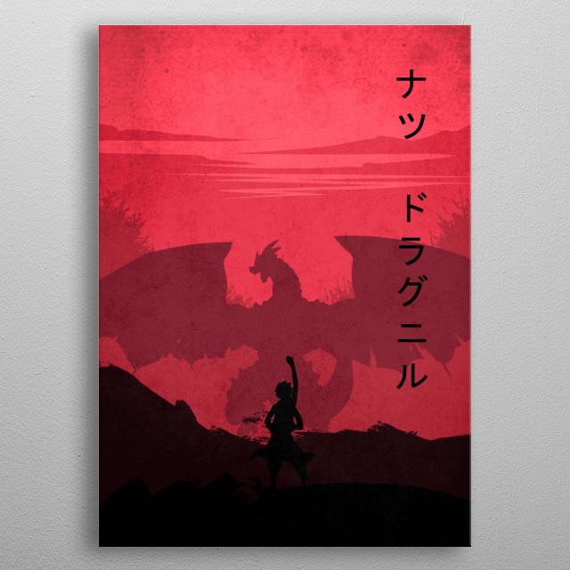 Rose Natsu with natsu dragneel kanji metal poster