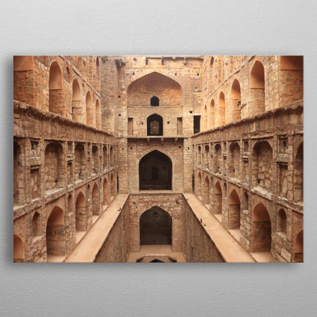 Agrasen ki Baoli Ancient Construction, India metal poster