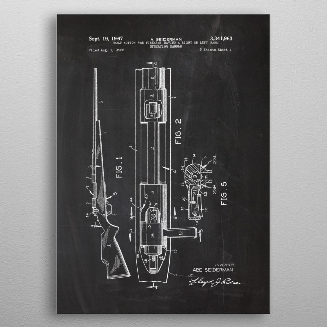 1966 Bolt Action for Firearms - Patent Drawing metal poster