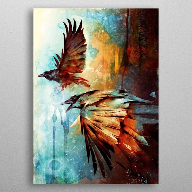 Crows in Flight metal poster