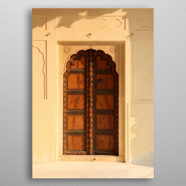 Old Style Indian Antique Door in a Fort metal poster
