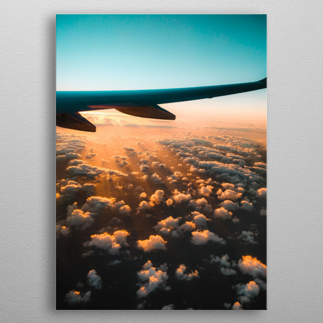 Sunset over the clouds metal poster
