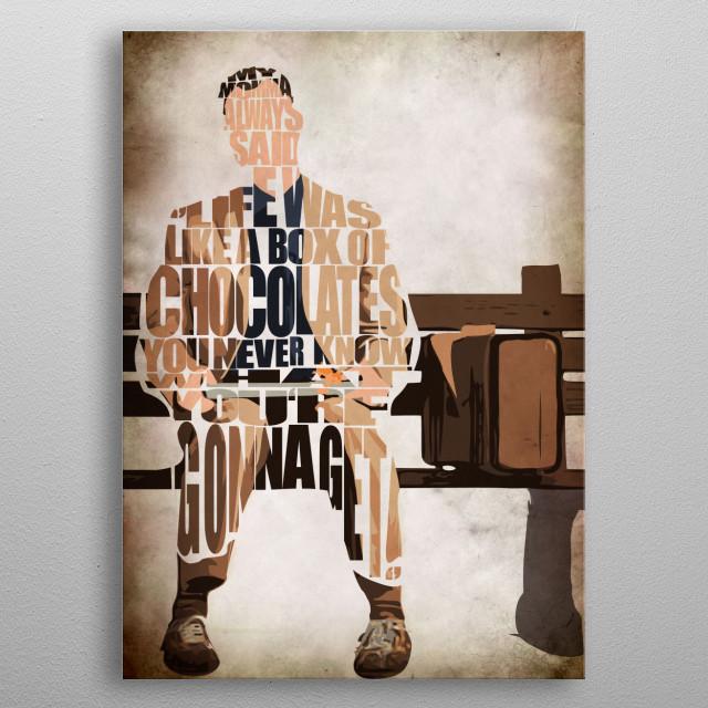 Forrest Gump Typographic & Minimalist Illustration metal poster